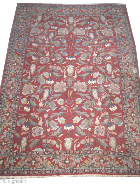 """Qoum Persian, 303 x 213 (cm) 9' 11"""" x 7'  carpet ID: P-5773 Allover artistic design, surrounded with aquatic animals, nice color harmony, the knots are hand spun wool, the surrounded large  ..."""