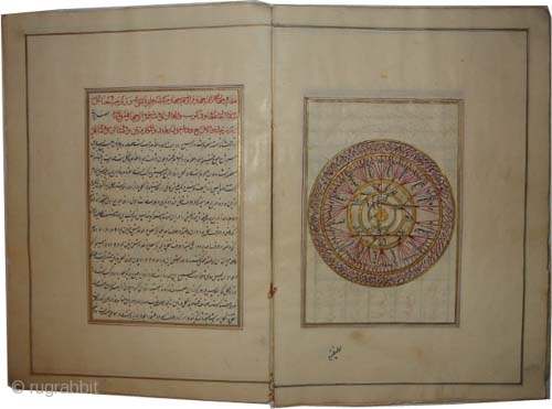 "Islamic astrological book, 17/18 century, antique, collector's item, museum standard, manuscript ""Astrology"" book, most of the pages are colored and golden. Size: 30 x 21 (cm) 1'  x 8""  carpet  ..."