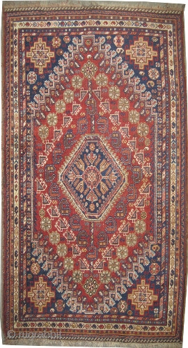 """Qashqai Persian circa 1918, antique, collector's item, Size: 194 x 106 (cm) 6' 4"""" x 3' 6""""  carpet ID: K-4197  vegetable dyes, the black color is oxidized, the knots are hand  ..."""