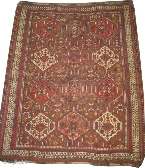 """Shiraz Khamse antique,circa 1905, collector's item, Size: 178 x 146 (cm) 5' 10"""" x 4' 9""""   carpet ID: K-5607 vegetable dyes, the brown background is oxidized to be knotted, the knots are  ..."""