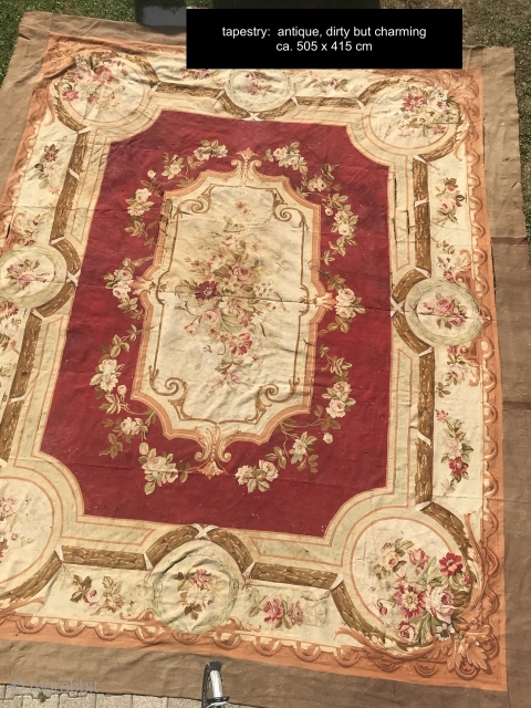 Aubusson French, woven circa in 1900, antique. 415 x 505 cm, carpet ID: LUB-12 The background is burgundy, the center medallion and the surrounding large border are ivory, to be washed, minor places  ...