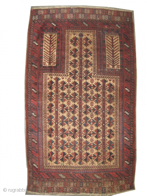 """Belutch prayer Persian circa 1890 antique. Collector's item. Size: 142 x 94 (cm) 4' 8"""" x 3' 1""""  carpet ID: K-4686  Vegetable dyes, the black color is oxidized, the background  ..."""