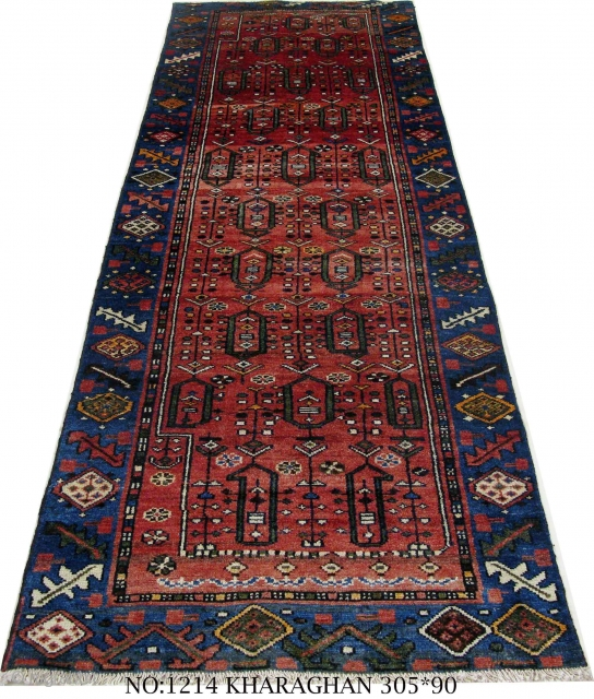 Rug no: 1214, a Shahsavan Gallery rug, from Kharaghan village in north-west Persia, Symmetrical knots, circa 1930, restored and cleaned , in perfect condition, durable,rare piece,  size: 305x90 cm It can be shipped  ...