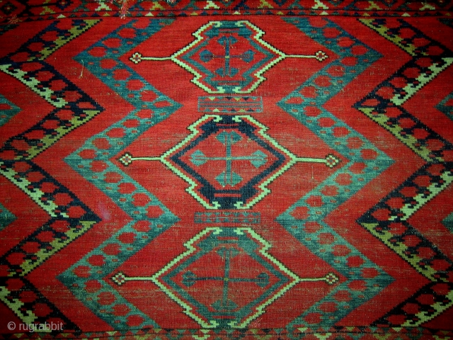 In terms of spatial proportions, traditional design purity and graphic clarity, this noble and early Central Asian Ersari chuval is one of the best. Size is 35 x 61 inches (89 x  ...