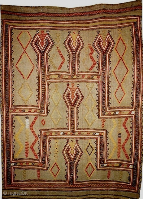 Beautifully balanced and serene Konya brocaded flatwoven prayer rug, about 4.8 x 6 feet, with minimalist motifs delicately drawn and lots of space, mid-19c. very good condition with no reweaves.
