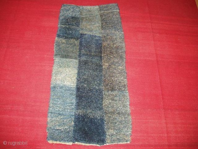 Tibetan Wangdan  19th. century  size: 2'2 x 4'7 (0.65 x 1.38)  exceptional indigo colors