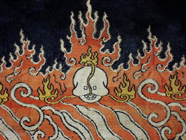Silk Brocade, Chinese for Tibet, 18th. century, size: 2'1 x 2'9 (64 x 75cm), mounted Found in Kathmandu and probably from a pre-Chinese invasion monastery collection.