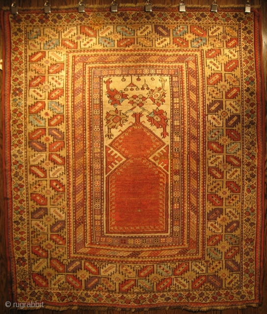 """A Melas Prayer Rug, Circa 1875, 4' 6"""" x 3' 11"""".  This rug has some repairs, mostly along the perimeter, but is in generally good condition.  Will send detail images  ..."""