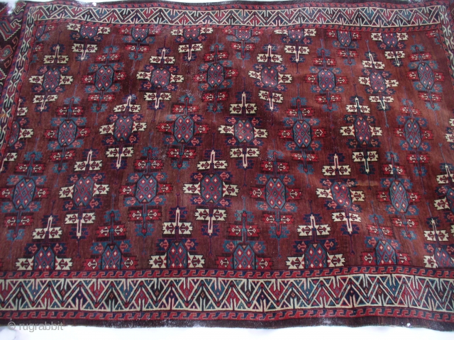 "Antique Yomud Main Carpet: Excellent Christmas gift. 9'3""X5'5"". 11H X 14V = 140 kpi. Camel hair warp. Some cotton in weft? [see pic]. SOLD!"