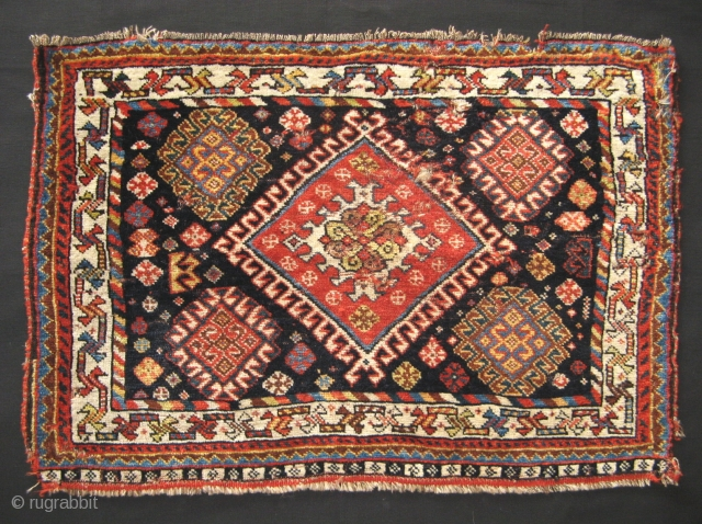 South Persian Bagface, 19th century, 55x78cm, full pile of soft and lustrous wool,  scattered moth damages and small holes, great colors and beautiful design layout with joyful variety of tiny filler  ...