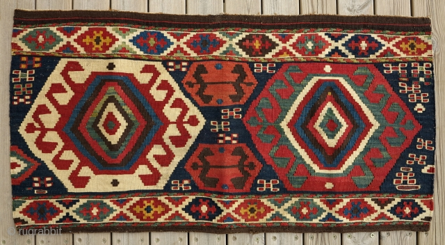 Shahsavan Kilim Mafrash Panel, 19th century, 110x55cm, great colors and graphics with few tiny amulets in sumak weave.