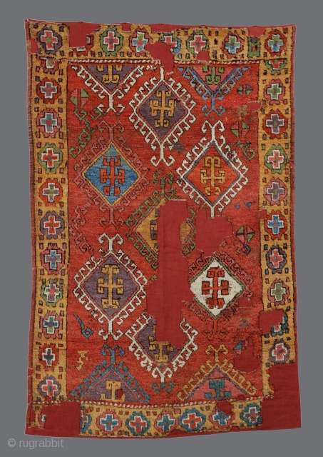 18th century Central Anatolian Village Rug (probably from Karapinar area), 120x180cm, beautiful rare design with a strong Turkmen scent, great old colors and coloring ideas, tight weave, good pile throughout except where  ...