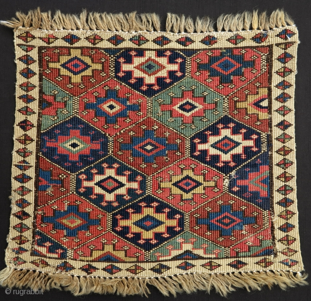 Moghan Shahsavan Reverse Sumak Bagface, 19th century, 40x43cm, beautiful design layout, nice range of clear and precise old colors. Good piece to have. Affordable.