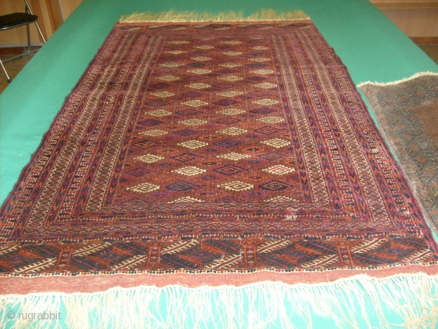174 x 107  cm Extremely fine Yomud antique TURKMEN carpet In very good condition.  Natural dyes. Other info or pictures on request. WARM REGARDS  from Lake of COMO!  ===  SOLD / VENDUTO in Italia-BRINDISI-  ...