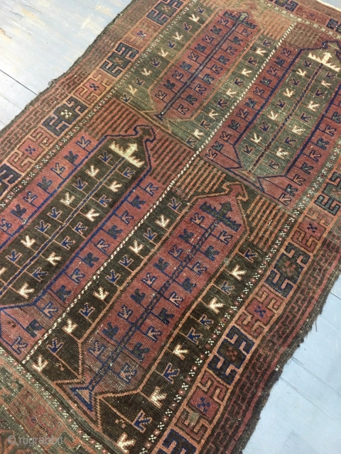 Balouch tribe TIMURI end XIX°th.Century, this is the idea of the seller which have sold me this piece in Wien. But for me it's an antique ANATOLIAN carpet knotted of the Kordi-people. All the colors are natural  ...