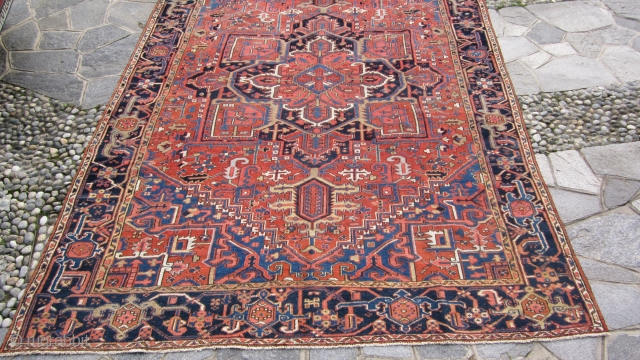 354 x 257 cm is the size of this anttique  KARADJEH-AZERBAIJAN. Carpet antique in very good condition. Fastened and brilliant dyes. Has been washed. Very beautiful size for