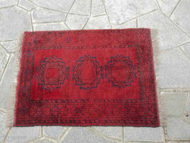 96 x 70 cm Oriental carpet old AFGHAN ERSARI in condition perfect. Wool on wool   S O L D   in France !  Merçi !