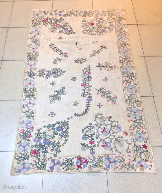 Antique uzbek silk kherboz Suzani 