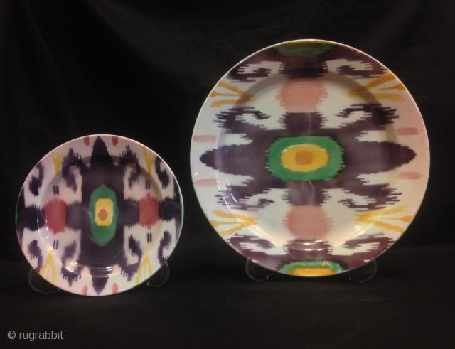 Antique Uzbek ikat plate   Size big plate : 33 cm Size small plate : 21.50 cm  Fast shipping worldwide