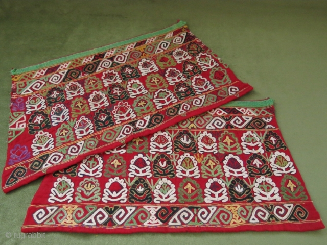 Turkmen  Chodor silk embroidery cuffs. Circa 1900 or earlier. 