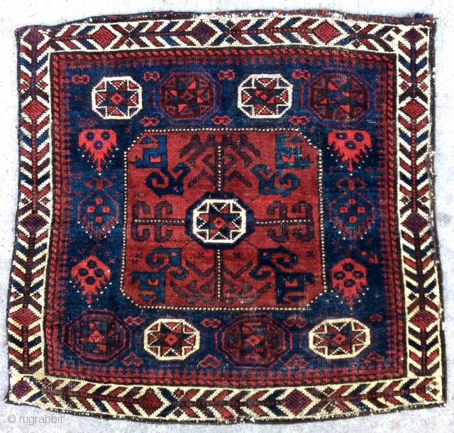 Exceptional & Early Baluch bag with Octagon and Star. Rare or Unique? flame like designs on the sides, I don't recall seeing in another before. Great colors, spacious drawing & proportions pointing  ...