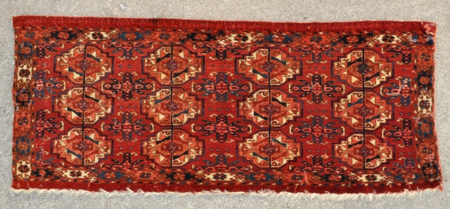 """Tekke Turkmen Trapping with 12 Guls - super tight weave, great colors and velvety wool pile - 44"""" x 18"""" - 112 x 46 cm."""