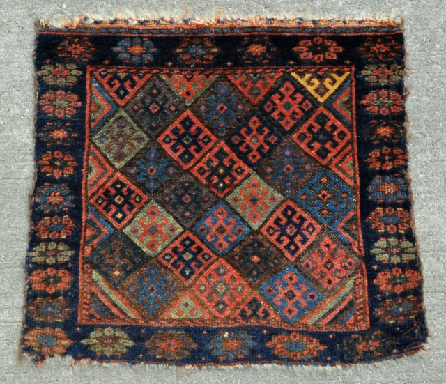"Kurdish Jaff bagface with amazing range of colors and super tight weave - 21"" x 18"" - 53 x 45 cm."