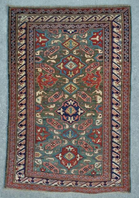 Exceptional Caucasian Alpan Kuba rug - 3'8 x 5'3 - 111 x 160 cm.