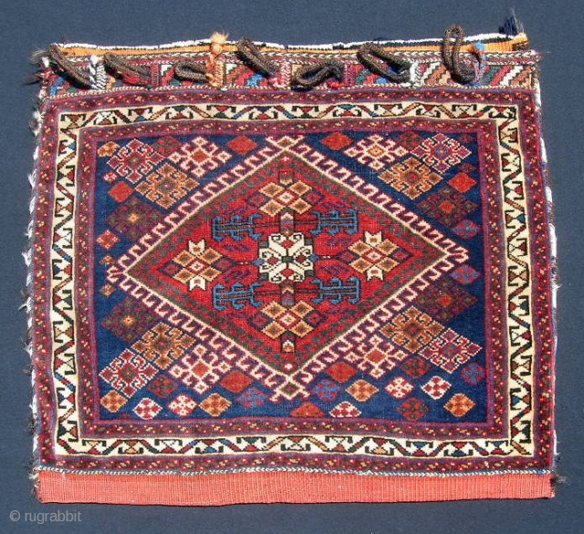 """Afshar diamond-medallion bag, 23 X 29"""".  Good dyes, very good condition with only slight wear and no damage to pile.  Intact closure system."""