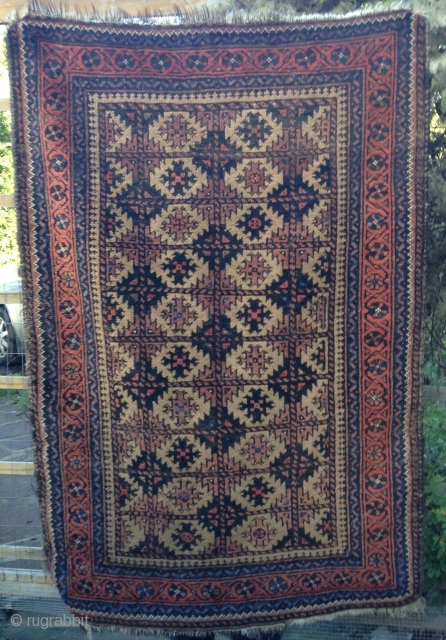 "Camel field Arab Belouch rug 4'7"" X 35"". The rug is in