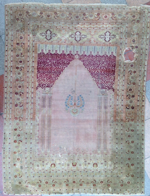 Very nice and old Tabriz Silk rug ! in condition ! no cracking .  Fine quality . circa : 19th  Size : 170x130cm Please don't ask more photo about ! Thanks;