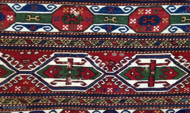 December sale : A stunning colors 'Shahsevan' Mafrash panel with cotton highlights ( white )  Lovely drawing as Pinweel and C guls on ! A very fine weavng ! P.S : Happy new year  ...