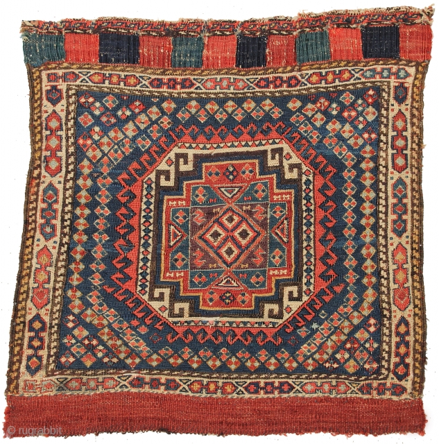 Shahsavan Sumac Bag Face with memling gul design, Northwest Persia Late 19th Century. Measures 1-8 x 1-9 ft