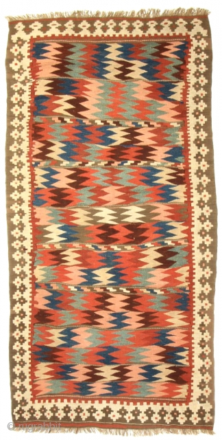 Shahsavan Moj Kilim. Northwest Persia, Bijar area. Late 19th century. 8-8 x 4-5 ft. Please have a look at my website for more: www.hazaragallery.com