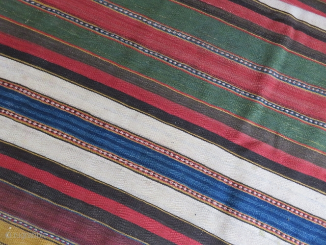 "Shahsavan kilim. Wool on cotton. All natural dyes. Size: 47"" x 117"" - 120cm x 297cm."