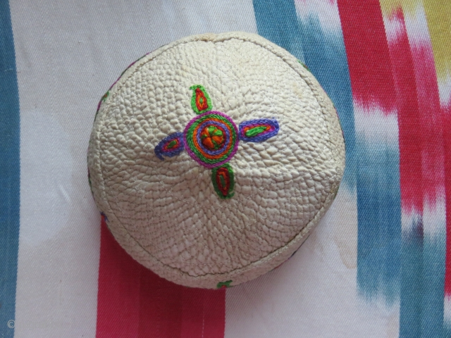 """Shahsavan tribal woman's headwear. Silk embroidery on fine quilted cotton. Traditional designs and style of Shahsavans form Tabriz area. Size: 5"""" high - 5.1/2"""" diameter. Circa 1920- 1930s."""