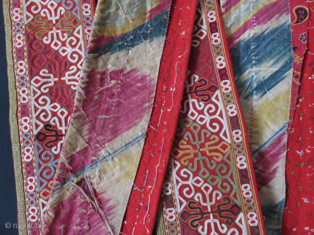 """Turkmen Chodor chapan's front complete collar. Great condition with very fine chain stitch embroidery. Original adras Ikat on the back/ Size: 102"""" X 4 1/2"""" - 260 cm X 11 cm"""