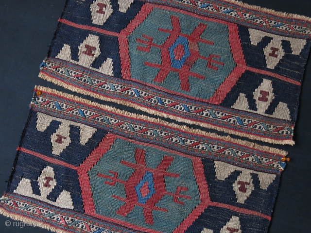 "Shahsavan Mafrash kilim end panels, they are much wider then usual sizes. Saturated colors. Circa late 19th cent. Size of each: 23"" X 11.1/2"" - 58 cm X 29 cm"