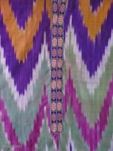 """Uzbekistan - Kuylak - Koynek, silk ikat dress. saturated colors with Cross stitch collar. Circa 1900 or earlier. Size: 66"""" arm to arm - 49"""" high and 46"""" wide at bottom of  ..."""