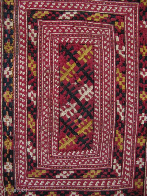 """Turkmenistan - Tekke finaley woven small bag. It has some use to it. Has a tiny hole on the center which can be easliy stitched. Circa 1920. Size: 5.5"""" x 8"""" -  ..."""