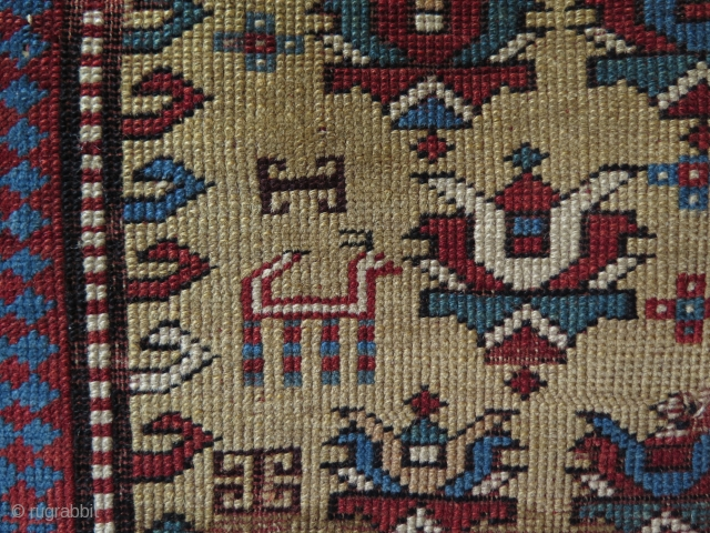 "Caucasian prayer small rug. Size: 33"" x 51"" - 85 cm x 130 cm."