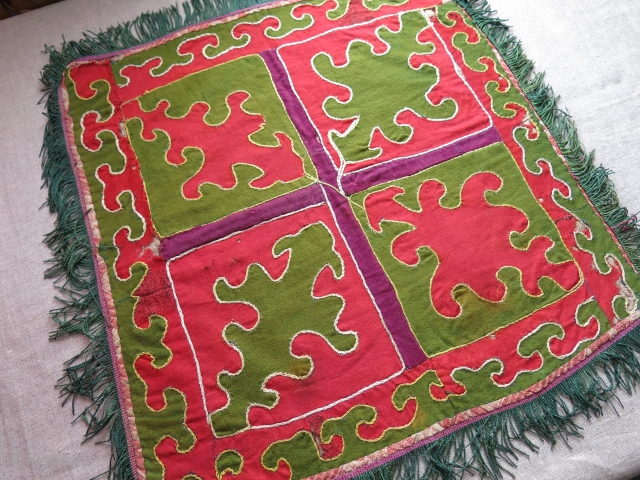 """Kirgiz tent hanging - mirror cover, wool trade cloth patchwork with printed cotton backing. Silk tassels on all sides. Circa 1900 - size 17"""" X 17"""" - 44 cm X 44 cm"""