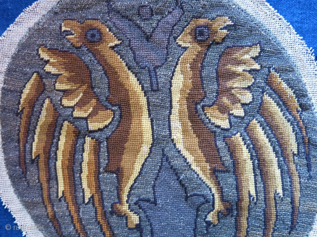 Turkey – Trace – Constaniople, silk and metallic antique Christian embroidery. Continental cross stitch embroidery on most probably linen. It is the depiction of double headed Byzantine eagles. Symbol of power and  ...