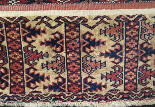 "Turkmen Tekke Ak Chuval. skirt has full pile and secured by stitcing in all sides. circa - 1900 size: 30"" x 53"" - 76 cm X 134 cm."