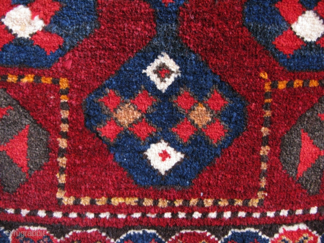 "Karakalpak - Kirgiz saddle rug with partly warp and weft camel hair. Size: 23.5"" x 23.5"" - 60 cm x 60 cm."
