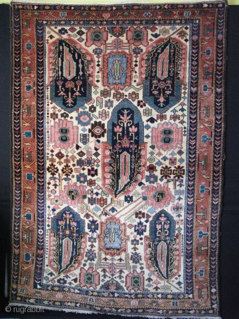 "Finely woven Bakthiari rug with high altitude silky wool, full pile with bold paisley like floral motifs. All great natural colors. Circa : late 19th cent. Size 58"" x 85"" -147 cm  ..."