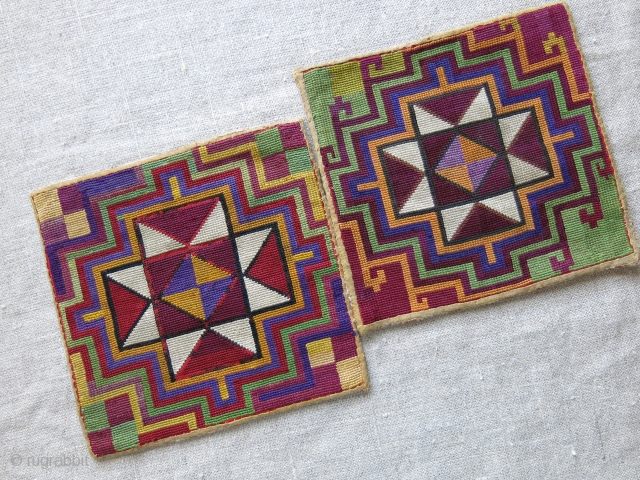 "Tajikistan Lakai cross stitch fine embroidery small pair of textiles. Natural colors - Size : 5.1/2"" X 6"" - 14 cm X 15 cm"
