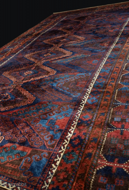 Baluch Mishwani main rug, made in two pieces. Has traditional Baluch silky wool with great natural colors, asymmetrically knotted open to left on one panel and open to right on other panel  ...
