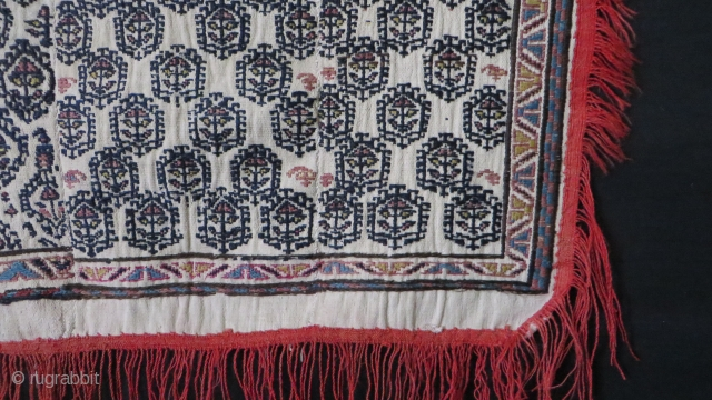 """Shahsavan Saddle cover. Wool sumac weave on hand loomed cotton. Circa 1900-1920s. Size: 36"""" by 24"""""""