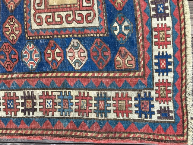 "Early Antique Caucasian Karachop (or variant) long rug, probably from 3rd Qtr 19thC. Beautiful bold design with a great variety of colors including several blues, aubergine, lemon yellow, and green. Size: 9'3""  ..."
